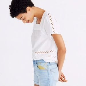 Madewell angelica white eyelet top